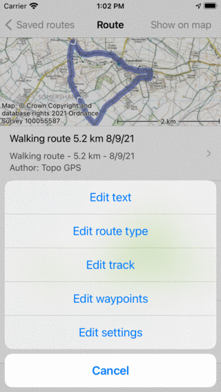 Editing routes topo gps manual ios edit route details topo gps sciox Image collections